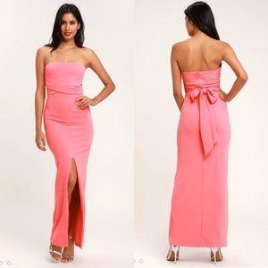 NWOT Lulu's pink strapless maxi size XS